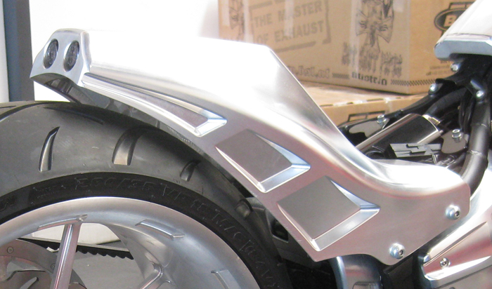 rear fender billet aluminum york with taillight and turn signals for 2018-up Milwaukee Eight Fat Boy's, FXDR's and Breakout's