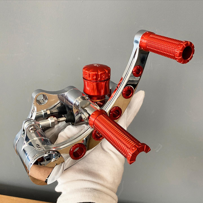 polished and red harley forward controls