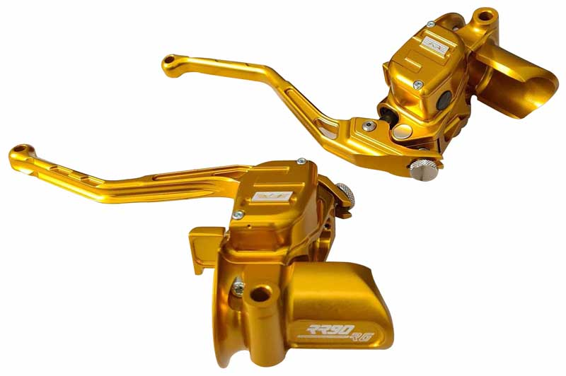hand controls radial brake master cylinder + hydraulic clutch for stock harley switches for touring models – gold
